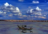 pic of coal barge  - Scenic landscape of the ancient petrified forest - JPG