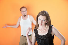 picture of wife-beater  - Beautiful Caucasian girlfriend or wife upset with her boyfriend - JPG