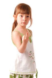 pic of middle finger  - Little girl posing  - JPG