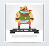 Powerful Pirate, Bearded Filibuster Holding Dagger With His Teeth, Scary Pirates Flat Vector Ilustra poster