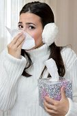 pic of blowing nose  - Teenage Girl blowing her nose with Handkerchief - JPG