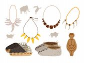 Ice Age Cartoon Elements. Ancient Man Vector Elements, Rock Paintings And Snow Shoe, Necklaces Of Ca poster