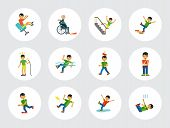 Accident Icon Set. Falling From Chair Falling Down Stairs Boy Slipping Stumbling Falling Boy With Br poster