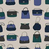 Elegant And Trendy Vintage Bags, Clutches And Purses Surface Pattern. Hand Drawn Vector Illustration poster