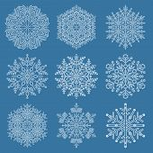 Set Of Snowflakes. White Winter Ornaments. Snowflakes Collection. Snowflakes For Backgrounds And Des poster