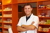 Happy Pharmacist In Pharmacy