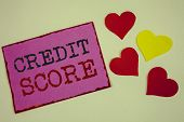 Conceptual Hand Writing Showing Credit Score. Business Photo Textss Capacity To Repay A Loan Creditw poster