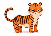 Cute Tiger Stands On A White Background. poster