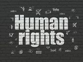Politics Concept: Painted White Text Human Rights On Black Brick Wall Background With  Hand Drawn Po poster