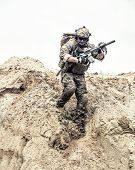 United States Army Commando, Special Forces Infantry Armed With Assault Rifle In Combat Uniform And  poster