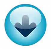 The Glassy Aqua Blue Download Icon Button