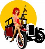 image of tommy-gun  - Girl with a gun Thompson and black retro car - JPG