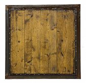 A Wooden Board Made Of Wooden Planks In A Rusty Metal Frame With Rivets Isolated On White Background poster