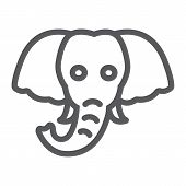 Elephant Line Icon, Animal And Zoo, Mammal Sign Vector Graphics, A Linear Pattern On A White Backgro poster