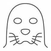 Seal Thin Line Icon, Animal And Zoo, Mammal Et Sign Vector Graphics, A Linear Pattern On A White Bac poster
