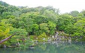 Pinus Thunbergii, Plants, Mountain, Lake With Reflection In Japan Zen Garden poster