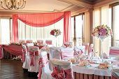stock photo of fancy cakes  - wedding hall - JPG