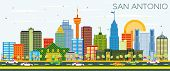 San Antonio Texas Skyline with Color Buildings and Blue Sky. Business Travel and Tourism Concept wit poster