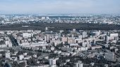 Urban Landscape From High Above With Many Residential And Manufacture Buildings, A Highway, Park Zon poster