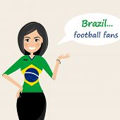 Brazil Football Fans.cheerful Soccer Fans, Sports Images.young Woman,pretty Girl Sign.happy Fans Are poster