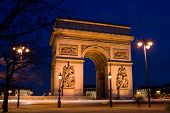 arc de Triomphe (Triumphal Arch) in Chaps Elysees at sunset, Paris, France. Architecture and landmar poster