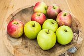 Juicy Apples On Wooden Table Healthy Fruit poster