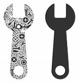 Wrench Mosaic Of Workshop Instruments. Vector Wrench Icon Is Constructed Of Cogs, Wrenches And Other poster