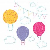 Vector Collection With Air Balloons,bunting Flags And Clouds In Pastel Colours. Handpainted Air Ball poster
