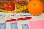 Concept Of Diet. Low-calorie Vegetables Diet. Diet For Weight Loss. Measuring Tape And Vegetables On poster