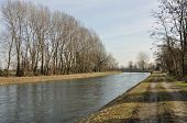 image of foreshortening  - foreshortening of important artificial canal in winter country  - JPG
