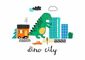 Cartoon City With Dinosaur Playing In It. Childish Vector Illustration With Dino, Buildings And Car. poster