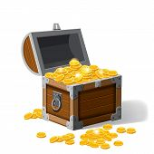 Piratic Trunks Chests With Gold Coins Treasures. . Vector Illustration. Cartoon Style poster