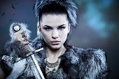 stock photo of viking  - Warrior woman - JPG