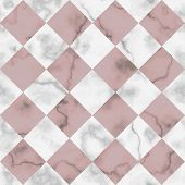 Vector White And Pink Check Marble Seamless Pattern. Repeat Diagonal Marbling Surface, Modern Luxuri poster