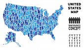 Vector Population Usa With Alaska Map. Demography Composition Of Usa With Alaska Map Designed Of Peo poster