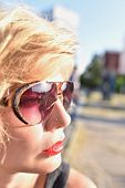 Close Up Portrait Pretty Blonde In Sunglasses Outdoor. Girl In Sunglasses, Attractive, Curly Hair, B poster