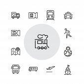 Journey Icons. Set Of  Line Icons. Train, Bus, Plane. Journey Concept. Vector Illustration Can Be Us poster