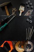Construction Worker Tools Builder Hammer, Saw, Nails, Screwdrivers On Black Background Flat View Fro poster