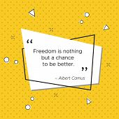 Pop-art Trendy Illustration With Citation Of Philosopher And Journalist Albert Camus. Freedom Is Not poster