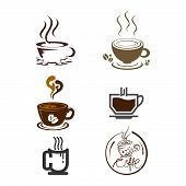Set Of Vector Coffee Logo Templates. Coffee Labels With Sample Text. Mugs, Beans And Coffee Equipmen poster