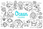 Ocean Fauna Cute Cartoon Doodle Set. Aquatic Sea Fauna. Vector Under Water Inhabitants Life. Octopus poster