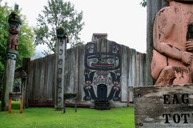 picture of tlingit  - Historic Chief Shakes tribal house on Shakes Island at Wrangell - JPG