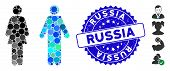 Mosaic Wc Persons Icon And Corroded Stamp Seal With Russia Text. Mosaic Vector Is Designed With Wc P poster