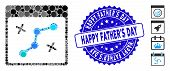 Mosaic Path Points Calendar Page Icon And Rubber Stamp Watermark With Happy Fathers Day Caption. Mos poster
