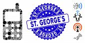 Mosaic Portable Radio Transmitter Icon And Grunge Stamp Watermark With St. Georges Text. Mosaic Vect poster