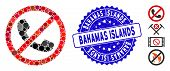 Mosaic No Phones Icon And Rubber Stamp Seal With Bahamas Islands Text. Mosaic Vector Is Designed Fro poster