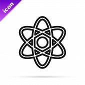 Black Line Atom Icon Isolated On White Background. Symbol Of Science, Education, Nuclear Physics, Sc poster