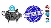 Mosaic Piggy Bank Icon And Distressed Stamp Watermark With France, Nice Phrase. Mosaic Vector Is For poster