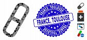 Mosaic Pill Icon And Rubber Stamp Seal With France, Toulouse Caption. Mosaic Vector Is Designed With poster