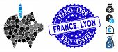Mosaic Piggy Bank Icon And Distressed Stamp Watermark With France, Lyon Text. Mosaic Vector Is Creat poster